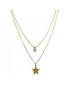 Collar Plata Chapada Oro Doble Cadena Estrella Lisa Y Chatón