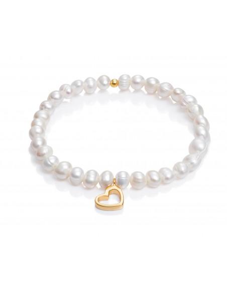 Pulsera Viceroy Plata De Ley Elástica Perlas Con Corazón 6005p100-60