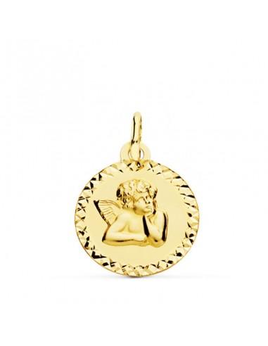 Medalla Oro Angelito Bisel Tallado 16...