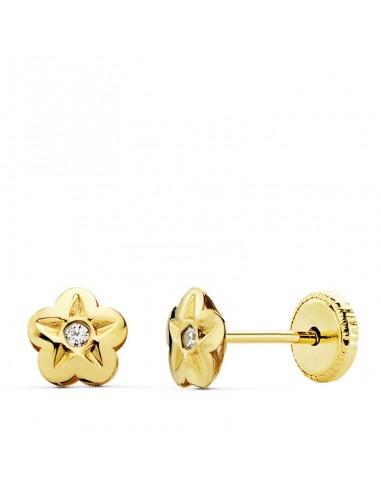Pendientes Oro Flor Circonita 5mm Por...