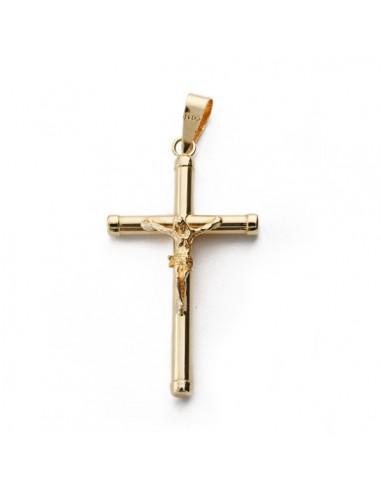 Crucifijo Oro Con Cruz Lisa Redonda