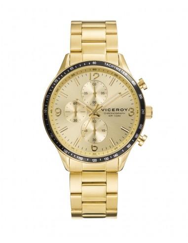 4ed7598edcae Reloj Viceroy Crono Acero Ip Dorado Brazalete Caballero 401141-95