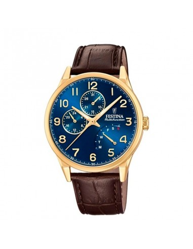 Reloj Festina Multifunción Caballero Acero Dorado Esfera Azul F20279/b
