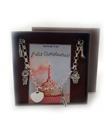 Pulsera Feliz Cumpleaños Plata