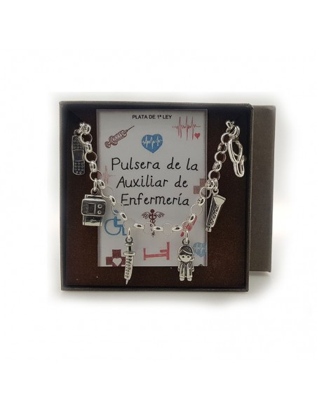 Pulsera Plata De La Auxiliar De Enfermeria