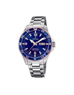 Reloj Festina Automático Acero Esfera Azul/rose Caballero F20478/3