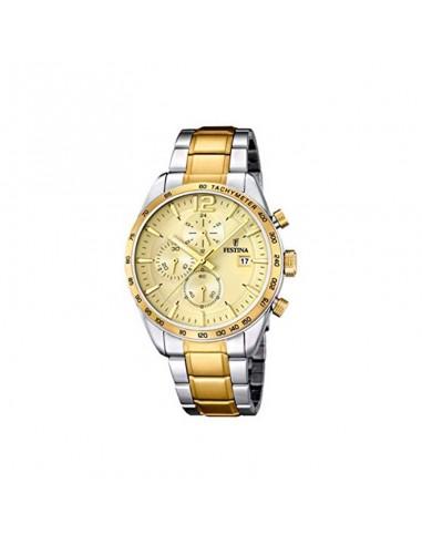 Reloj Festina Crono Bicolor Esfera Champan Caballero F16761/1
