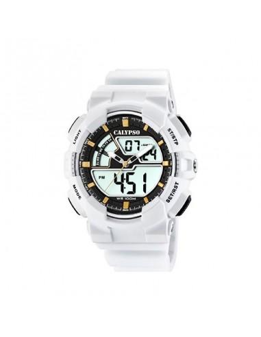 Reloj Calypso Analógico/digital Correa Blanca Esfera Negra Caballero K5771/1