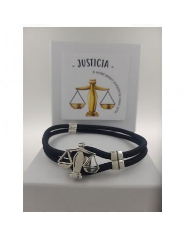 Pulsera de la Justicia en Plata de Ley y Nylon