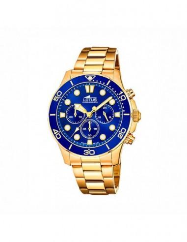 Reloj Lotus Crono Dorado Esfera Azul...