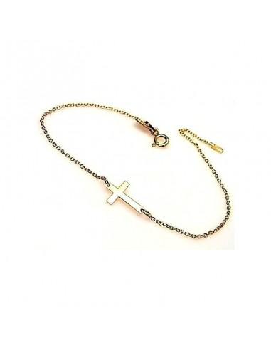 Bracelet petite croix plaqué