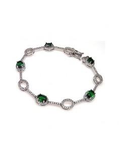 Bracelet en Argent pierres de couleur émeraude