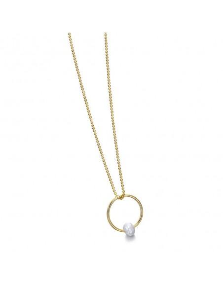 Collar Plata Baño Oro Circulo Perla
